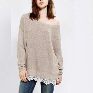 UO Pins and Needles -Slouchy Knit Sweater w/ Lace